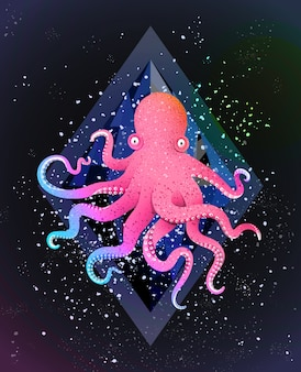 Octopus kosmischer hintergrund