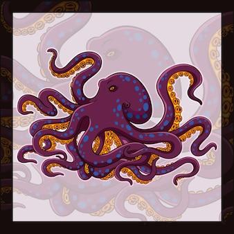 Octopus kraken maskottchen esport logo-design