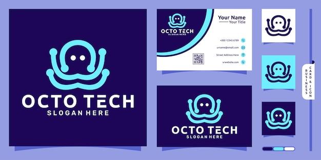 Octopus line art logo mit modernem technologiekonzept und visitenkartendesign premium-vektor
