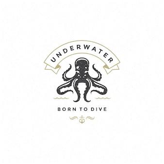 Octopus-logo mit typografie-design