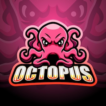 Octopus maskottchen esport illustration