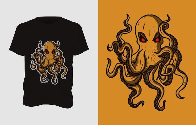 Octopus monster illustration t-shirt design