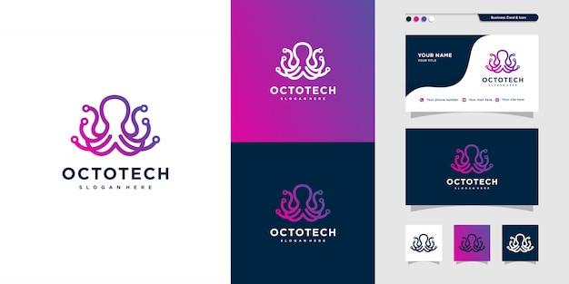 Octopus technologie logo design und visitenkarte, computer, anwendung, internet, modern,