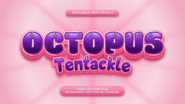 Octopus tentakel texteffekt niedlichen cartoon-stil