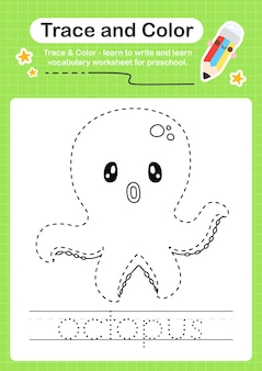 Octopus trace und color preschool arbeitsblatt trace