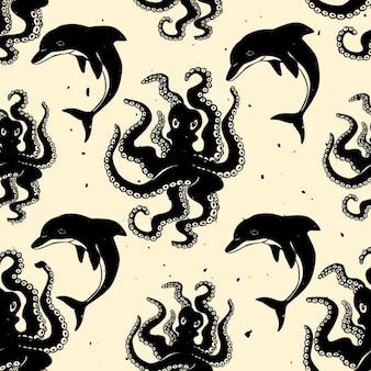 Octopus und delphin vektor nahtlose muster
