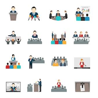 Öffentlich sprechende icons set