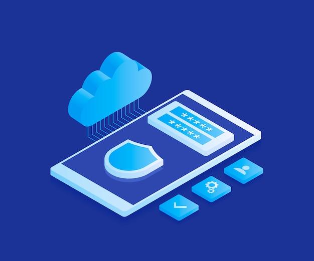 Öffentliche datenspeicherung der corporation, zugriff auf dateien, die auf einem remote-cloud-server gespeichert werden, smartphone mit cloud-symbol und registrierungsformular. moderne illustration im isometrischen stil