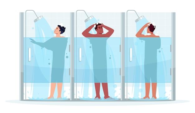 Öffentliche männliche dusche halb rgb farbillustration. mann sauber mit shampoo. kerl in der kabine mit seife waschen. hygiene und körperpflege. verschiedene männerkarikaturfiguren auf weißem hintergrund