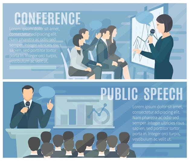 Öffentliche rede vor dem live-publikum und erfolgreiche konferenzpräsentationen 2 flache banner-komposition