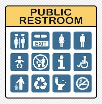Öffentliche restroomikonen stellten auf flache art ein