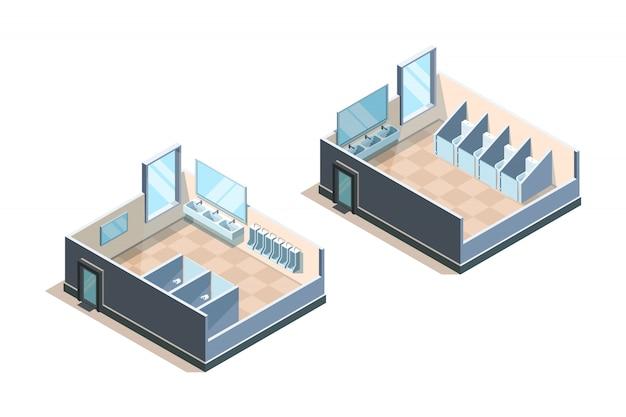 Öffentliche toilette. isometrischer waschraum für moderne waschbeckenillustrationen von männern und frauen