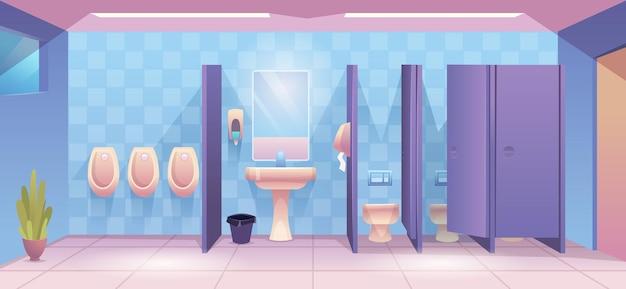 Öffentliche toilette. leeres reinigungsraum-wc für männliche und weibliche person sauberer toiletteninnenvektorkarikaturhintergrund. toiletteninnenraum, wc-badezimmer und waschraumillustration