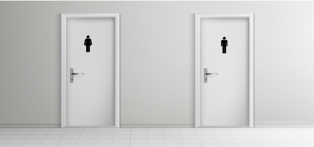 Öffentliche toilette männlich, weibliche besucher eingänge