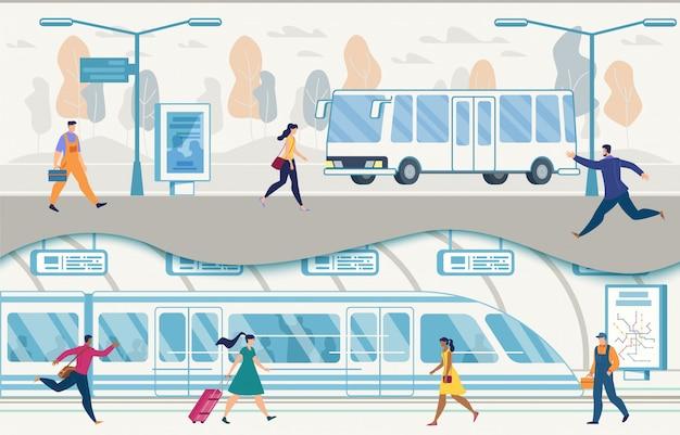 Öffentliche verkehrsmittel der stadt mit bussen und u-bahn-vektor