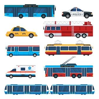 Öffentliche verkehrsmittel illustrationsset, krankenwagen, streifenwagen der polizei, feuerwehrmaschine, oberleitungsbus, stadtbuselemente