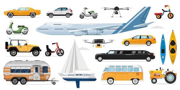 Öffentliche verkehrsmittel . öffentlicher, privater personenverkehr. isolierte automobil-, bus-, flugzeug-, wohnwagen-, drohnen-, yacht-, fahrrad-, roller-, limousinen-autotransportfahrzeug-symbolsammlung