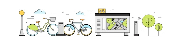 Öffentlicher bike-sharing-bereich mit fahrrädern zum mieten an dockingstationen in der stadtstraße, zahlungsterminals, kartenständer. verleih. farbige illustration im modernen strichgrafikstil.