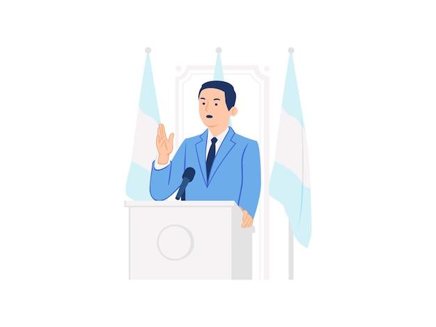 Öffentlicher sprecher der pressekonferenz, der stehend spricht und rede hält