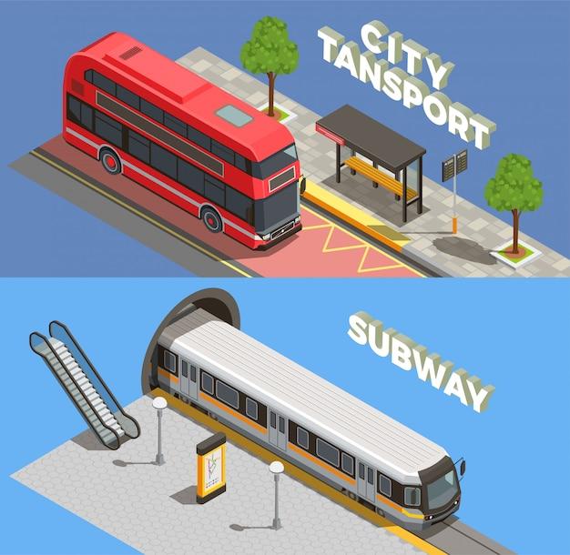 Öffentlicher stadtverkehr isometrisch mit horizontalen textkompositionen für u- und landtransportfahrzeuge