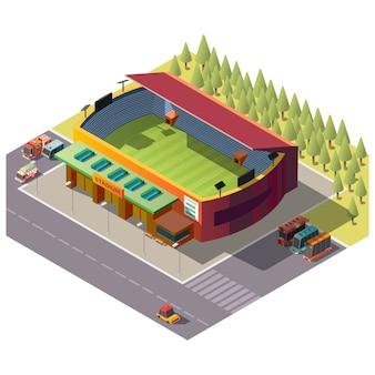 Öffentliches stadiongebäude der stadt isometrisch