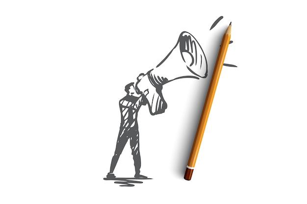 Öffentlichkeit, werbung, kommunikation, pr, medienkonzept. hand gezeichneter pr-manager mit megaphon-konzeptskizze.