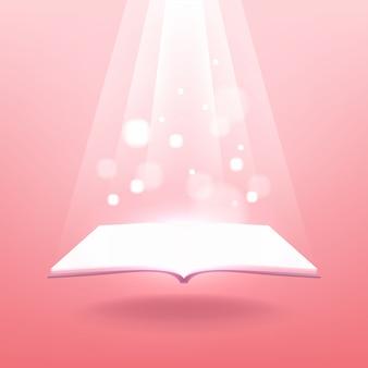 Öffne das zauberbuch mit strahlenden lichtstrahlen.
