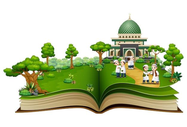Öffne ein buch mit einer gruppe von muslimen