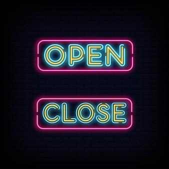 Öffne schließe text neon effekt. leuchtreklame öffnen schließen