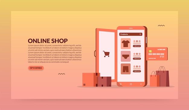 Öffnen der tür des mobiltelefons für den zugriff auf online-shopping, mobile store und e-commerce-konzept