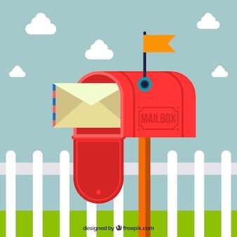 Öffnen roter mailbox hintergrund mit umschlag