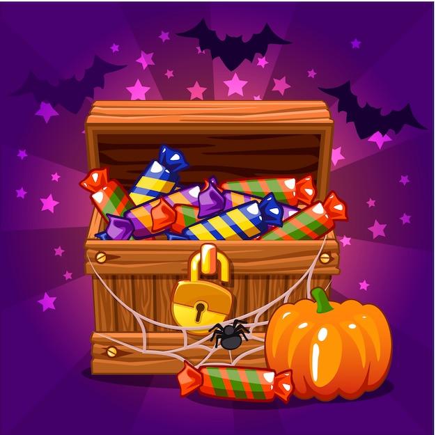 Öffnen sie antike schatzkiste mit süßigkeiten an halloween