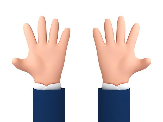 Öffnen sie ausgestreckte cartoon-hände, die fünf finger zeigen. menschliche hände der vektorkarikatur lokalisiert auf weißem hintergrund.