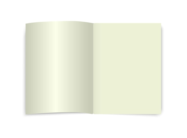 Öffnen sie buch modell seite draufsicht leere schule wörterbuch ecnyclopedia notizbuch weiß isoliert tagebuch vorlage