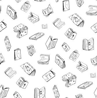 Öffnen sie bücher, die nahtlosen musterhintergrund zeichnen