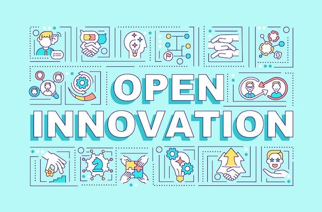 Öffnen sie das banner für innovationswortkonzepte. infografiken mit linearen symbolen auf blauem hintergrund. verwendung interner und externer ideen. isolierte typografie. umriss rgb farbabbildung