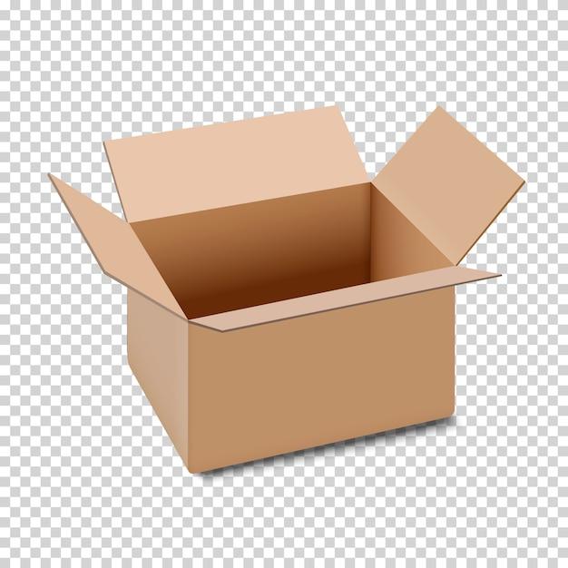 Öffnen sie das kartonkastensymbol, das auf transparentem hintergrund lokalisiert wird