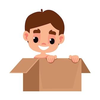 Öffnen sie das kartonpaket mit einem süßen kleinen neugeborenen jungen im vektorillustrationsspaß