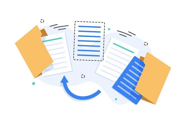 Öffnen sie das ordnersymbol ordner mit dokumententransfer-datenflaches design-symbol-vektor-illustration
