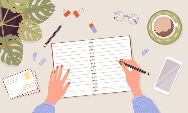 Öffnen sie den arbeitsplatz für tagebuch-, planer- oder notizbuchkonzepte