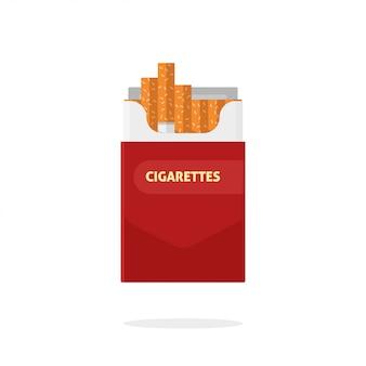 Öffnen sie den flachen lokalisierten vektor des zigarettensatzkastens