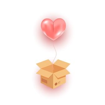 Öffnen sie den karton und fliegen sie den heliumballon mit rosa herzen, der in der luft fliegt