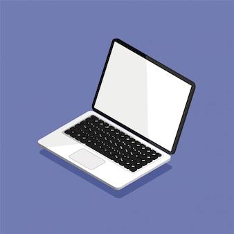 Öffnen sie den laptop in isometrischer projektion. leerer oder leerer bildschirm. computermodell lokalisiert auf violettem hintergrund. ausstattung für das büro. illustration.