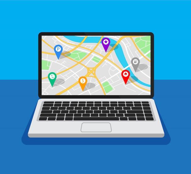 Öffnen sie den laptop mit kartennavigation auf einem bildschirm. gps-navigator mit verschiedenen punkten.