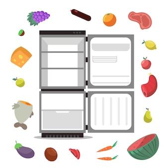 Öffnen sie den leeren kühlschrank mit einem set für gesunde lebensmittel