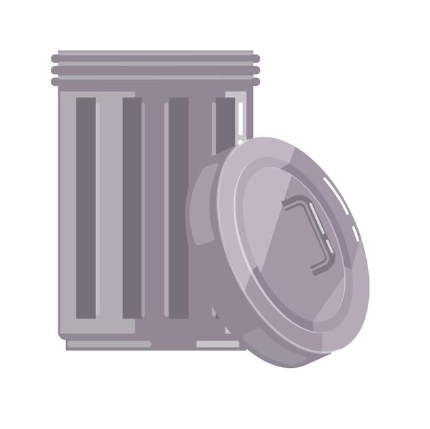 Öffnen sie den metallmüllcontainer mit dem auf weiß isolierten deckel