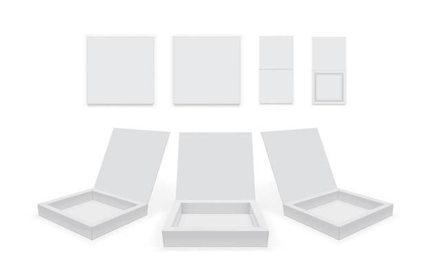 Öffnen sie den papierkasten, der auf weißem hintergrundmodell lokalisiert wird, vektor isolated