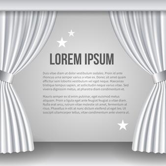 Öffnen sie den weißen vorhang. platz für text. szene und ansicht, show und zeremonie. vektorillustration