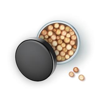 Öffnen sie die bronzing pearls box mit black cap rouge balls