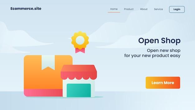 Öffnen sie die einkaufskampagne für die homepage der startseite der webseite